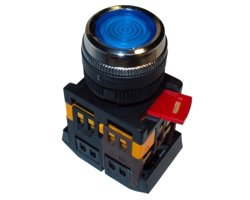 Кнопка ABLFS-22 синий 22мм неон/240В 1з+1р