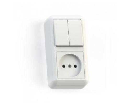 SM05 розетка б/з + 2-клавишный выключатель 8062