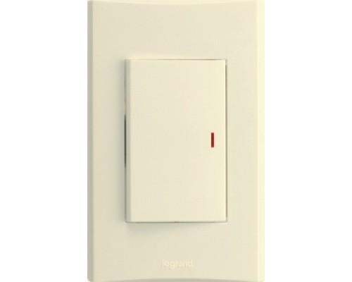 Anam Zunis Выключатель 1-клавишный с подсветкой 7100 18I + рамка 7101 50 I