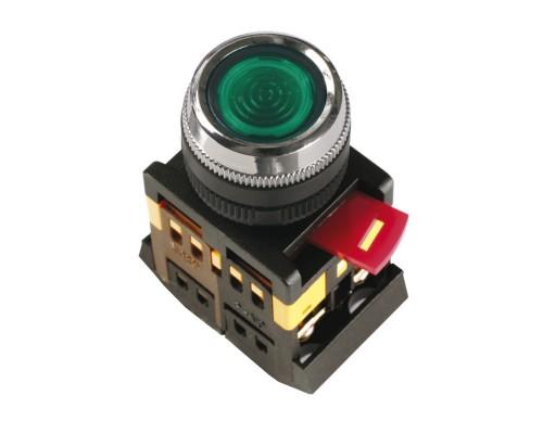 Кнопка ABLFS-22 зеленый 22мм неон/240В 1з+1р