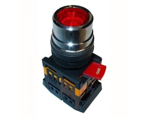 Кнопка ABLFS-22 красный 22мм неон/240В 1з+1р
