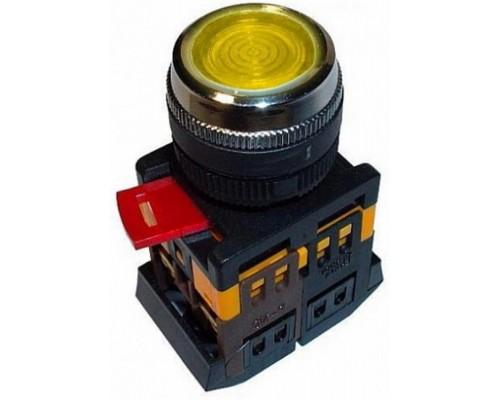 Кнопка ABLFS-22 желтый 22мм неон/240В 1з+1р