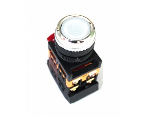 Кнопка ABLFS-22 белый 22мм неон/240В 1з+1р