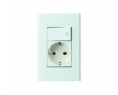 Anam Zunis Блок выключатель одноклавишный + розетка с заземлением  675159 + 7101 74I